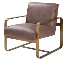 Nigel Fabric Accent Chair Antique Gold Frame, Devore Brown/1250009-277