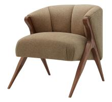 Florence Fabric Accent Chair Brown Legs, Havana Cream/1250010-399