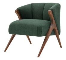 Florence Fabric Accent Chair Brown Legs, Havana Green/1250010-400