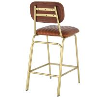 Lewis Leather Counter Stool Gold Legs, Ale Brown/1290002