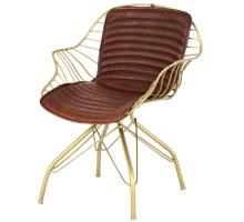 Isaac Leather Chair Gold Frame, Ale Brown *NEW*/1290009