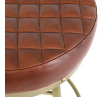 Reid Leather Industrial Backless Vintage Stool Gold Legs, Ale Brown/1290010