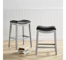 Grover KD PU Counter Stool Ash Gray Frame, Matte Black/1330001-387