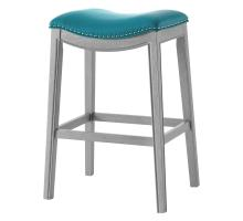 Grover KD PU Bar Stool Ash Gray Frame, Matte Turquoise *NEW*/1330003-388