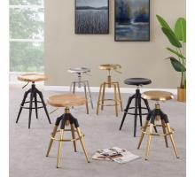 Elton KD Metal Swivel Backless Stool Wood Seat, Gold/1350003-G