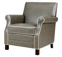 Gaston KD Bonded Leather Accent Chair, Vintage Gray *NEW*/1900127-V04