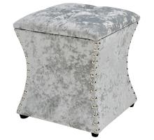 Amelia Velvet Fabric Nailhead Tufted Storage Ottoman, Persian Gray *NEW*/1900131-380