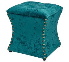Amelia Velvet Fabric Nailhead Tufted Storage Ottoman, Persian Turquoise *NEW*/1900131-381