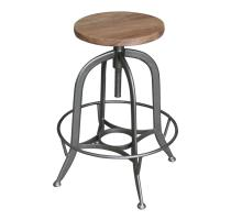 Bale Industrial Backless Vintage Stool, Natural/Gunmetal *NEW*/1280014