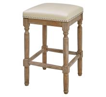 Ernie KD Bonded Leather Counter Stool Drift wood Legs, Beige/3900057-2050