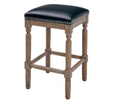Ernie KD Bonded Leather Counter Stool Drift wood Legs, Black/3900057-23