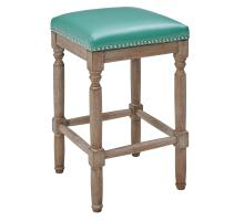 Ernie KD Bonded Leather Counter Stool Drift wood Legs, Turquoise/3900057-323