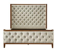 Marshall KD Fabric Tufted Queen Bed Set Walnut Frame, Lark Linen (Headboard)/1310001-382
