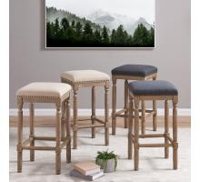 Ernie KD Fabric Counter Stool Drift wood Legs, French Black/3900052-393
