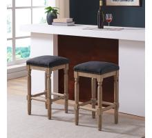 Ernie KD Fabric Bar Stool Drift wood Legs, French Black/3900053-393