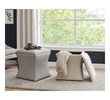 Amelia Fabric Nailhead Tufted Storage Ottoman, Cardiff Cream *NEW*/1900133-276