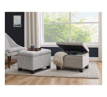 Jonas Fabric Rectangular Nailhead Tufted Storage Ottoman, Cardiff Gray *NEW*/1900139-410