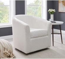 Hayden Faux Fur Fabric Swivel Chair, Fleece White *NEW*/1900141-408
