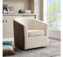 Hayden Fabric Swivel Arm Chair, Cardiff Cream/Velvet Brown/1900143-2712
