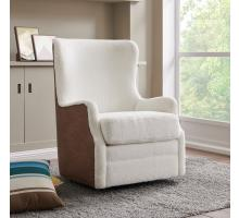 Anthony Faux Fur Fabric Swivel Rocker Tufted Chair, Fleece White/Devore Cocoa *NEW*/1900145-4013