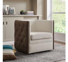Leslie Fabric Swivel Tufted Arm Chair, Cardiff Cream/Velvet Brown *NEW*/1900147-2712
