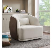 Steward Fabric Swivel Chair, Cardiff Cream/Velvet Brown *NEW*/1900149-2712