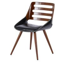 Shelton KD PU Bamboo Chair, Black/Walnut *NEW*/1160022-BWL