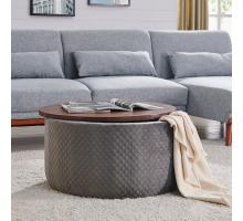 Essen Quilted Velvet Fabric Round Storage Coffee Table, Walnut/ Serene Dark Gray *NEW*/1600064-313