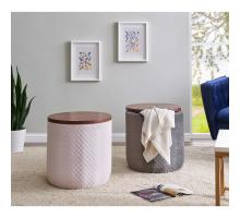 Essen Quilted Velvet Fabric Round Storage Ottoman, Walnut/ Serene Blush Pink/1600065-311