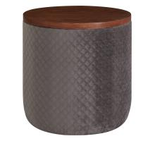 Essen Quilted Velvet Fabric Round Storage Ottoman, Walnut/ Serene Dark Gray *NEW*/1600065-313