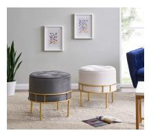 Lorient Velvet Fabric Tufted Round Ottoman, Serene Dark Gray/ Gold *NEW*/1600066-313