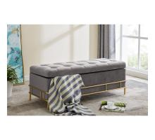La Jolla Velvet Fabric Tufted Storage Bench, Serene Dark Gray/ Gold *NEW*/1600067-313