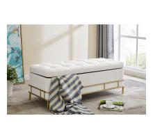 La Jolla Velvet Fabric Tufted Storage Bench, Serene Light Cream/ Gold *NEW*/1600067-542