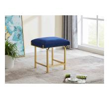 Kiky Velvet Fabric Ottoman, Serene Dark Blue/ Gold *NEW*/1600071-312