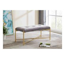 Stanford KD Velvet Fabric Bench, Serene Dark Gray/ Gold *NEW*/1600072-313