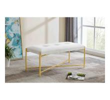 Stanford KD Velvet Fabric Bench, Serene Light Cream/ Gold *NEW*/1600072-542