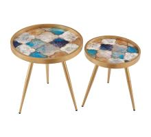 Krista KD Pattern Round End Table Set of 2, Moroccan Rich *NEW*/2100056-550