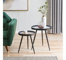 Krista KD Pattern Round End Table Set of 2, Zen White *NEW*/2100056-555