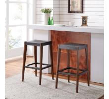 Novak KD Bar Stool, Metallic Gunmetal/ Walnut *NEW*/9300089