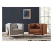 Johnson KD PU Tufted Accent Chair, Devore Cocoa *NEW*/9900072-413