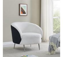 Posh KD Faux Fur/ Velvet Fabric Accent Chair, Fleece White/ Sonata Black *NEW*/9900076-4026
