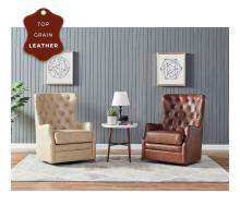 Anthony Top Grain Leather Swivel Rocker Tufted Chair, Garrett Beige *NEW*/1900151-427