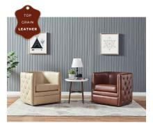 Leslie Top Grain Leather Swivel Tufted Arm Chair, Garrett Brown/1900152-426