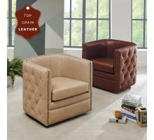 Leslie Top Grain Leather Swivel Tufted Chair, Garrett Beige *NEW*/1900152-427