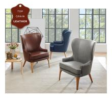 Bjorn KD Top Grain Leather Accent Chair, Garrett Blue *NEW*/1900155-429