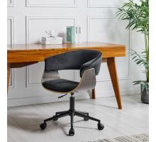 Maggie KD Velvet Fabric Office Chair, Velvet Black/Washed Black/1160024-VBB
