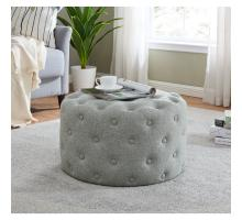 Lulu Round Fabric Tufted Ottoman, Minuet Gray *NEW*/1600073-544