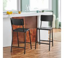 Luke KD Metal Counter Stool, Metallic Gunmetal *NEW*/9300096
