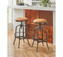 Industrial PU Adjustable Stool Gunmetal Legs, Vintage Cedar *NEW*/9300105-309