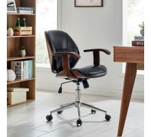 Samuel KD PU Bamboo Office Chair w/ Armrest, Black/Walnut *NEW*/1160030-BWL